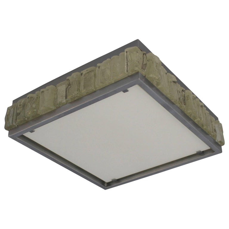 A Fine French Art Deco Square Glass and Chrome Flush Mount by Jean Perzel For Sale