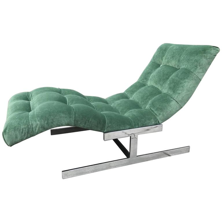 Milo baughman style wave chaise lounge for sale at 1stdibs for Carson chaise lounge