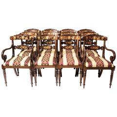 Set of 14 Bespoke Handmade Regency Style Burr Walnut Marquetry Dining Chairs