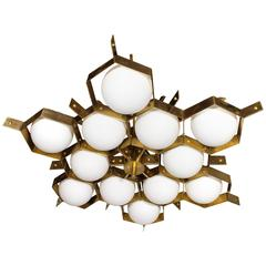 Extra Large 12 Globe and Brass Fedele Papagni Chandelier, circa 2000, Italy