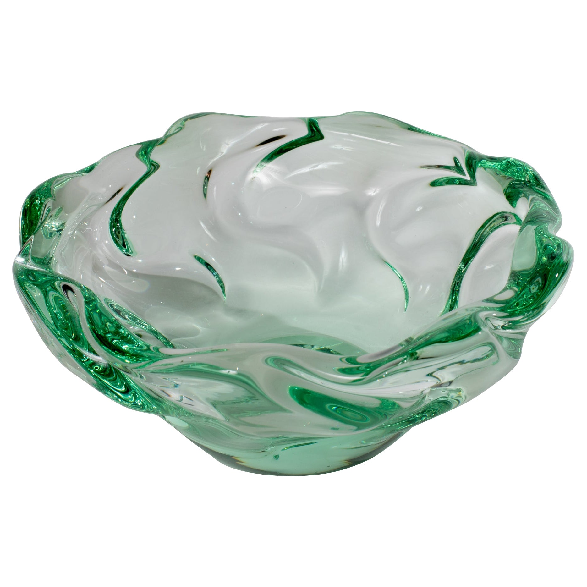 Light Green and Transparent Glass Bowl by Daum