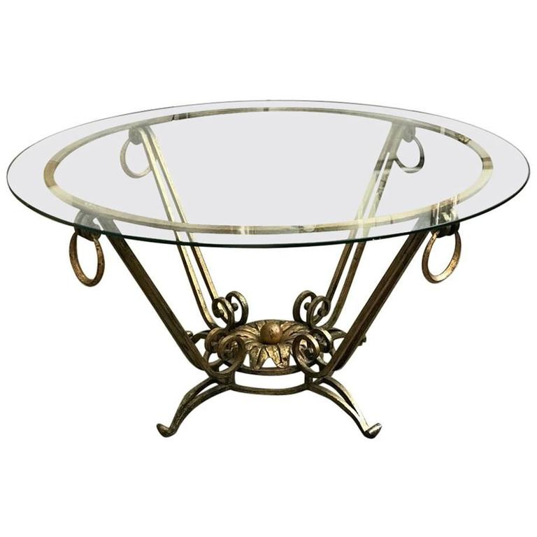 French Gilt Coffee Table: French Gilt Iron Coffee Table In The Style Of René Drouet