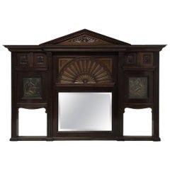Arts and Crafts Mahogany Overmantel in the Manner of George Jack