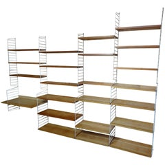 XXL String 1950s Wall Shelving Unit with 22 Shelves and a Desk