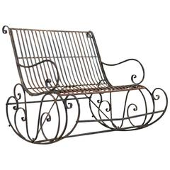 Vintage 1950s Iron Garden Rocking Bench with Unique Patina, Midcentury, France