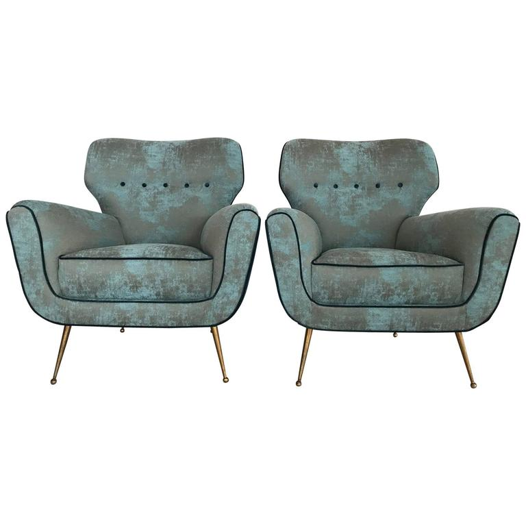 Pair of Italian Armchairs from 1950s 1