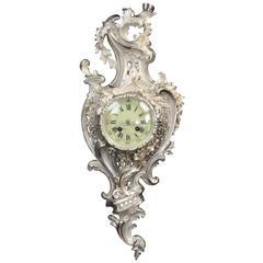 Silver Rococo Antique French Cartel Wall Clock by Samuel Marti