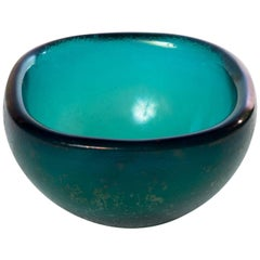 """Turquoise Glass Bowl """"Corroso"""" in the Attributed Carlo Scarpa"""