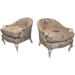 Pair of Charming 1940' Slipper Chairs