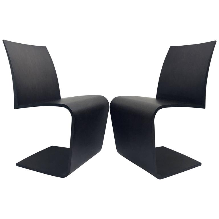 """Contemporary Pair of Bentwood """"Z"""" Chairs by Roche Bobois"""