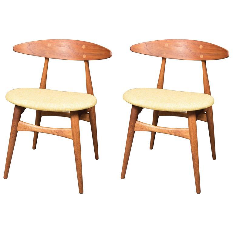Stylish Pair of Teak Chairs by Hans Wegner