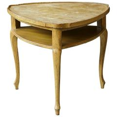 French Provincial Triangle End Table with Embossed Leather Top