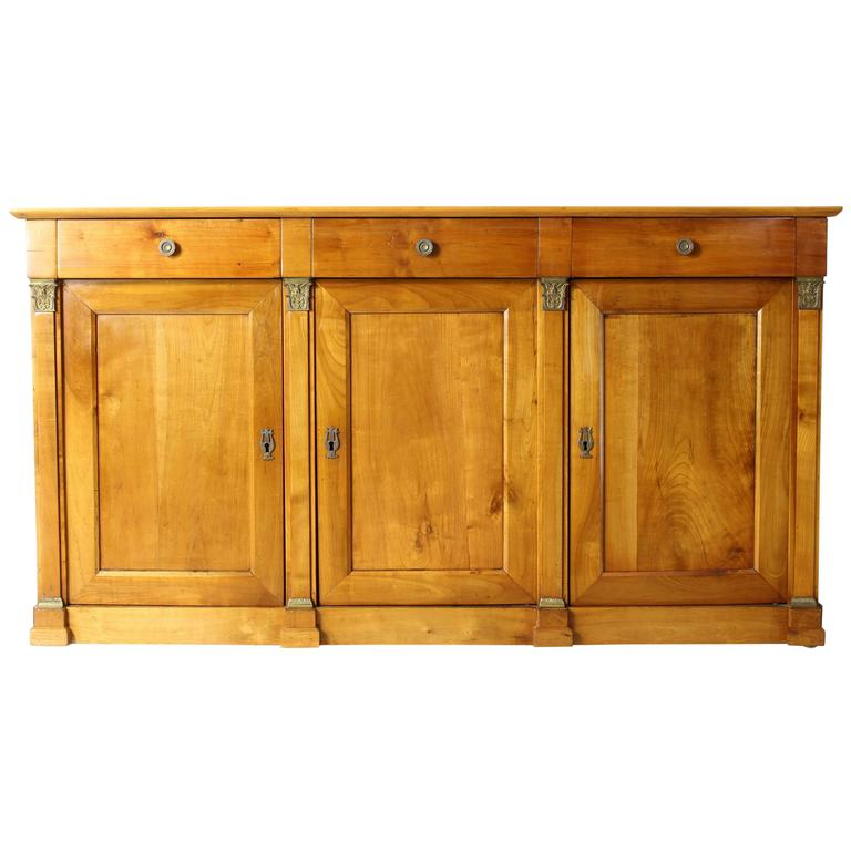 Amazing 19th Century French Cherrywood Buffet Cabinet For Sale