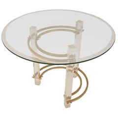 Charles hollis Jones Style Lucite and Brass Side Table