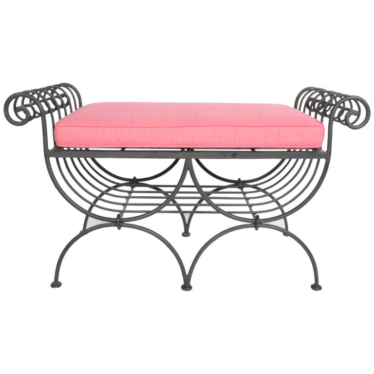 Hollywood Regency Italian Black Wrought Iron Double Scroll Arm Bench - Pink Seat For Sale