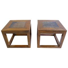 Pair Antique Stone Top Tables