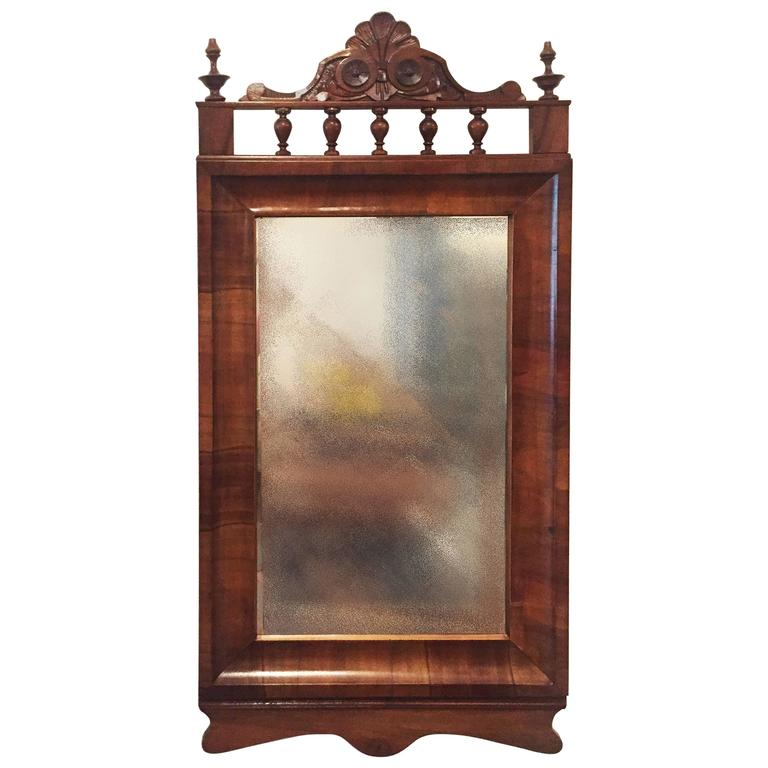 Round Wooden Frame Mirror For Sale at 1stdibs