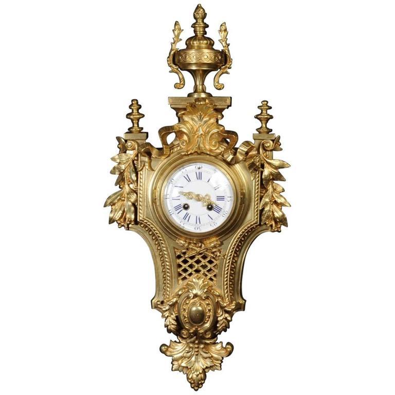 Japy Freres Louis Xvi Gilt Bronze Cartel Wall Clock Circa