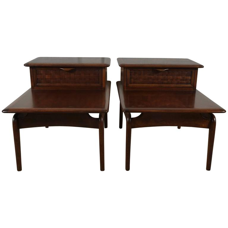 Pair of Walnut Stepped Tables For Sale