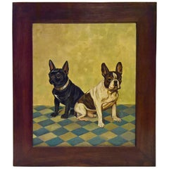 Mid Century Painting French Bulldogs Portrait Oil On Canvas