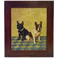 Französische Bulldoggen Portrait Öl auf Leinwand, Mitte des Jahrhunderts