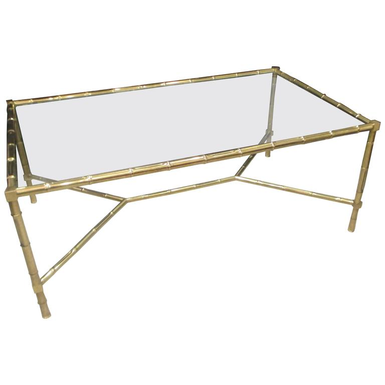 Italian Faux-Bamboo Brass Coffee Table With Glass Top