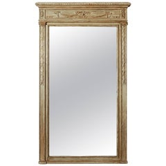 Large Painted Green Gray Mirror with Carved Details