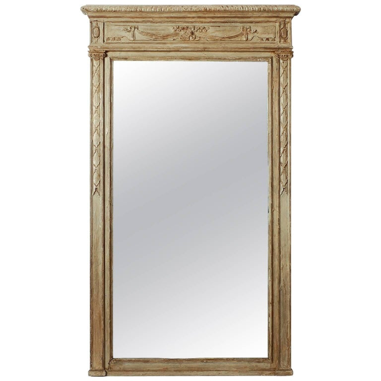 Large Painted Green Gray Mirror with Carved Details For Sale