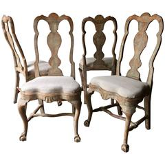 Set of Four 18th Century Rococo Period Swedish Chairs