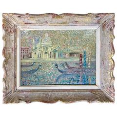 Vintage 1950s Pointillist Painting of Venice