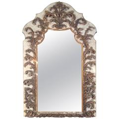 Monumental Antique Wall Mirror with Italian 17th Century Carved Details