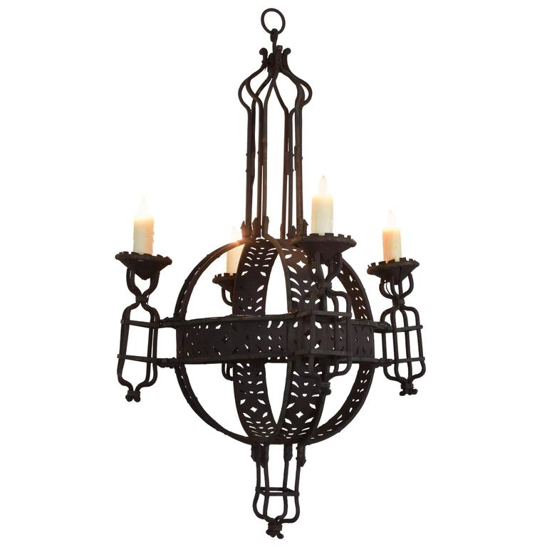 Large Italian Wrought Iron Four-Light Orb Chandelier, circa 1900
