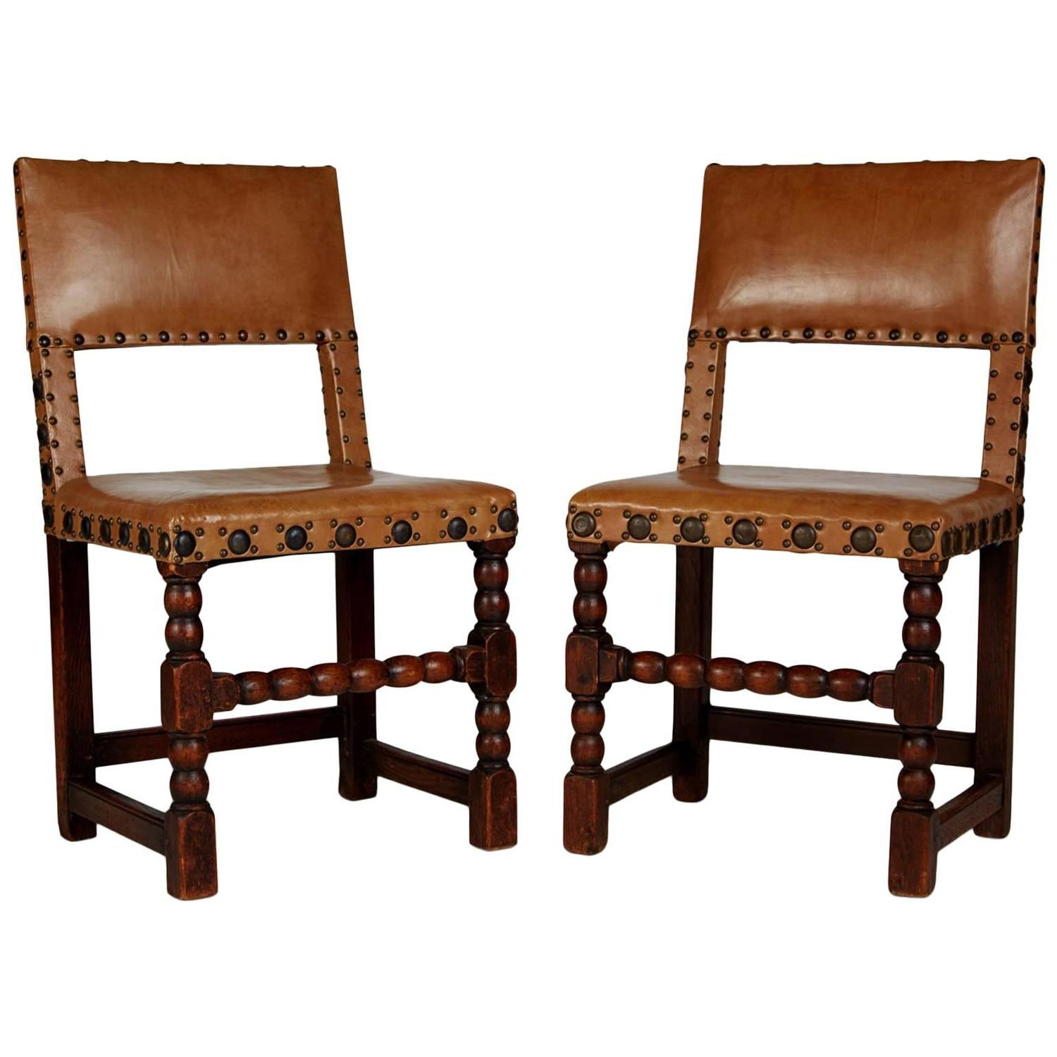 Rare set of twelve victorian solid oak leather antique chairs empire - English Cromwellian Tan Leather Oak Side Chairs Circa 1860