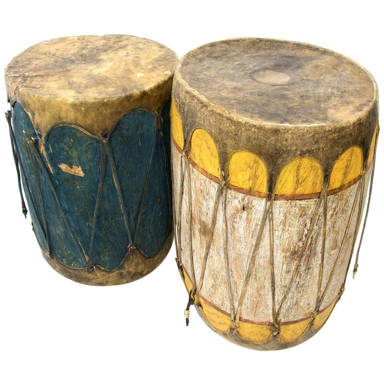 Pair of Large Antique Southwestern Native American Drums, Pueblo, circa 1900 For Sale