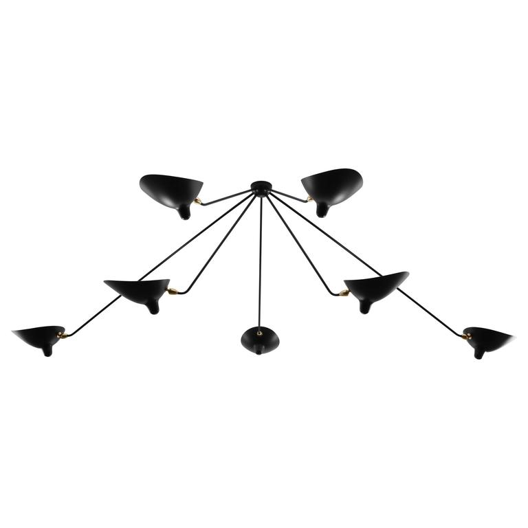 Ceiling Spider Lamp with Seven Fixed Arms by Les Editions, Serge Mouille For Sale