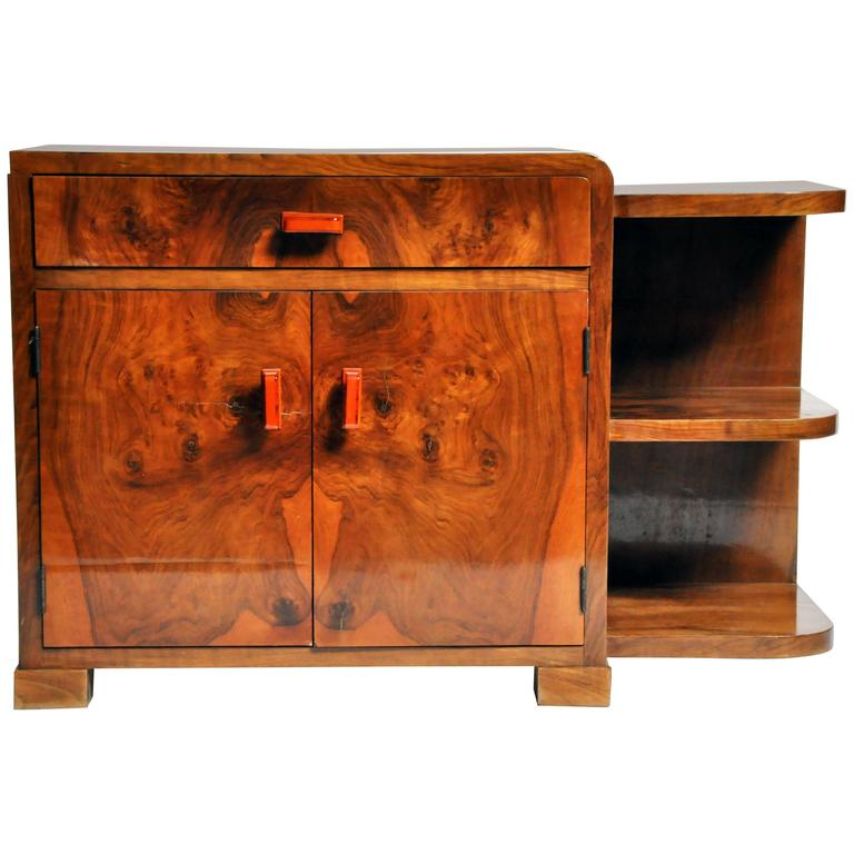 Art Deco Side Chest with Drawer and Shelves