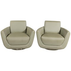 Chic Pair of Mid-Century Celery Green Swivel Chairs