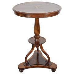 Italian Neoclassic Walnut Circular Two-Drawer Table, 19th Century