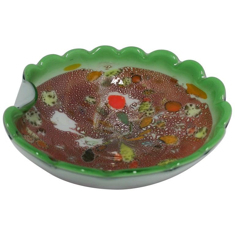 Italian Murano Bright Green Art Glass Bowl For Sale