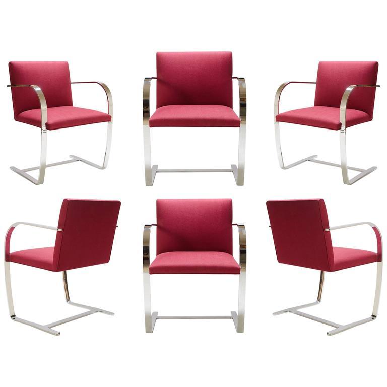 Mies van der Rohe for Knoll Brno Flat-Bar Chairs in Merlot Herringbone Wool, S/6 For Sale