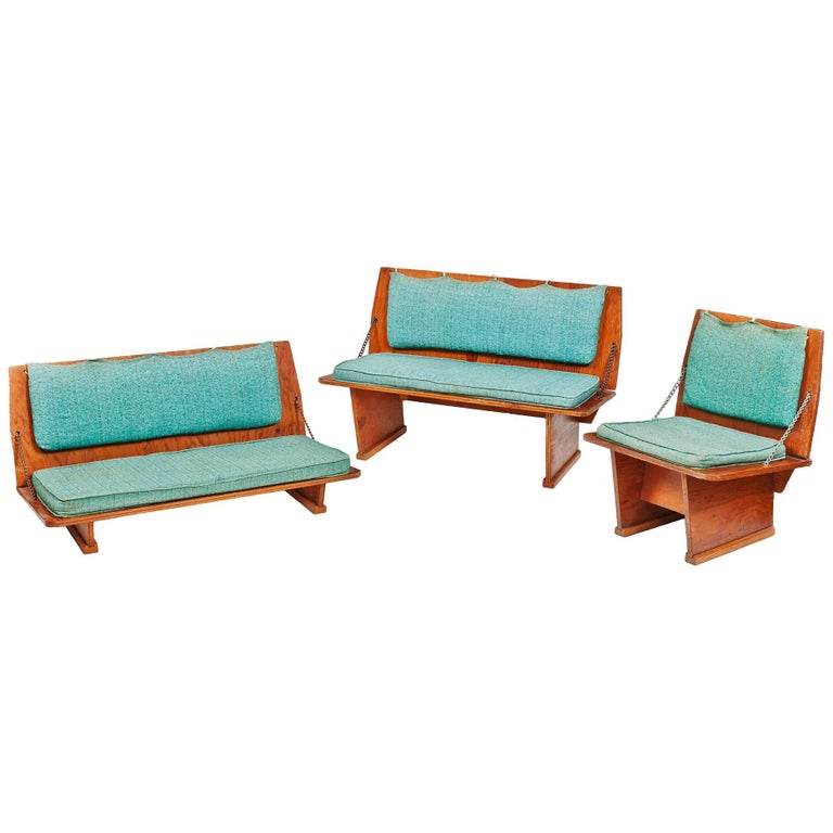 Frank Lloyd Wright Benches and Table from Wright's 1951 Unitarian Church For Sale