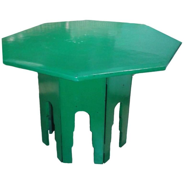 Green Octagonal Side Table  For Sale