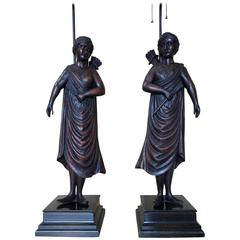 Pair of 19th Century Carved Roman Figure Lamps