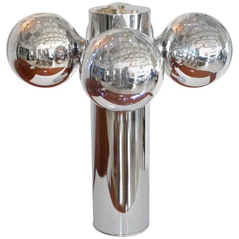 Chrome Cylinder Lamp with Four Chrome Silvered Glass Globe Bulbs, 1970s  1