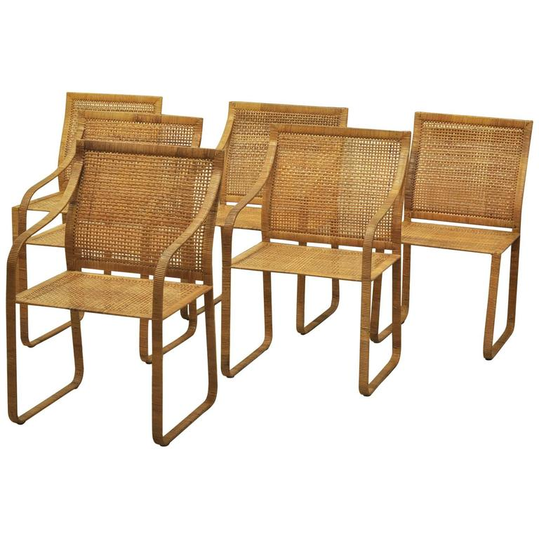 set of six harvey probber woven rattan dining chairs 1