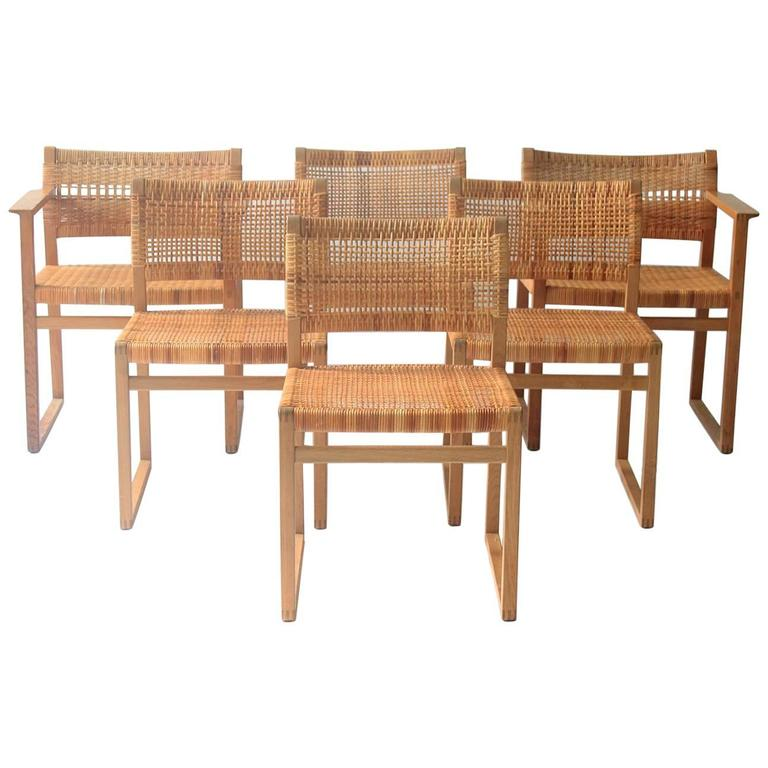 Rare Set Of Six Børge Mogensen Oak And Cane Dining Chairs For Sale