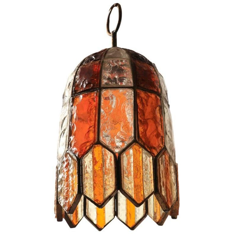 Poliarte Brutalist Murano Multicolored Glass 1970s Pendant Lamp