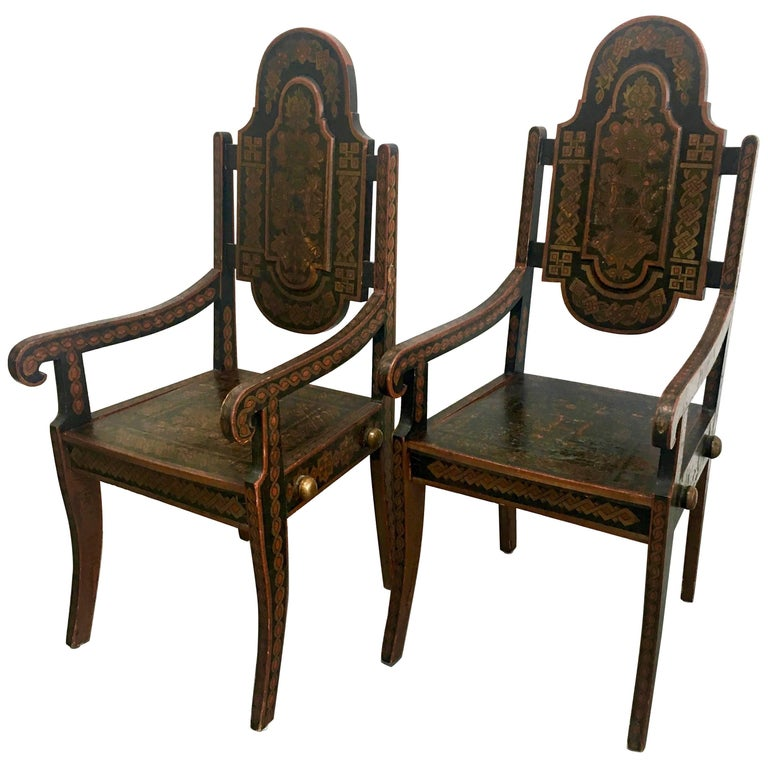 Pair of Unique 19th Century Hand-Painted Moroccan Armchairs For Sale