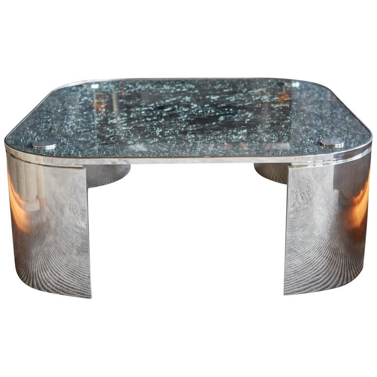 Custom Square Crackle Glass Coffee Table By Steve Chase