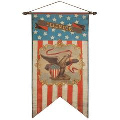 Hand-Painted Patriotic Banner With The Seal of the State of Illinois